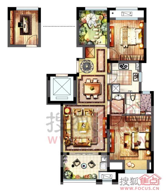 新城春天里88㎡三室两厅两卫户型图