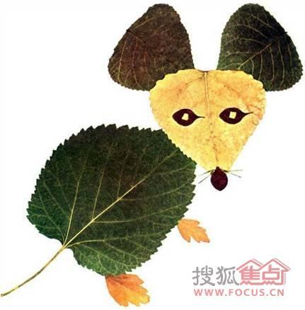 用树叶做小动物龙