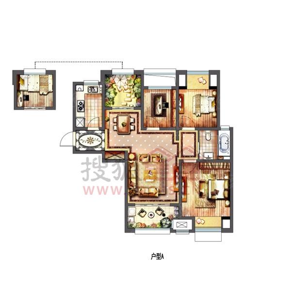 新城春天里100平米四室两厅一卫户型