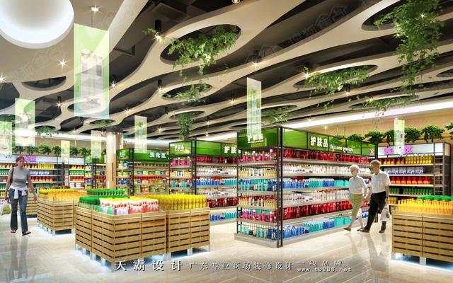 供烟台超市装修设计客户参考的大型超市装修设计效果图