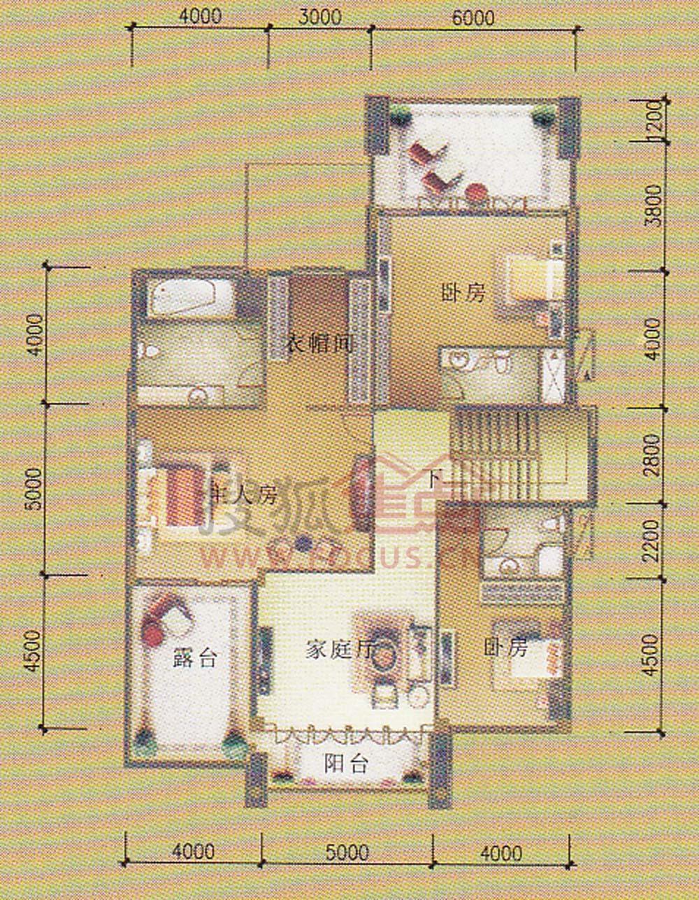 b型别墅二层平面图外墙日式别墅户型图片