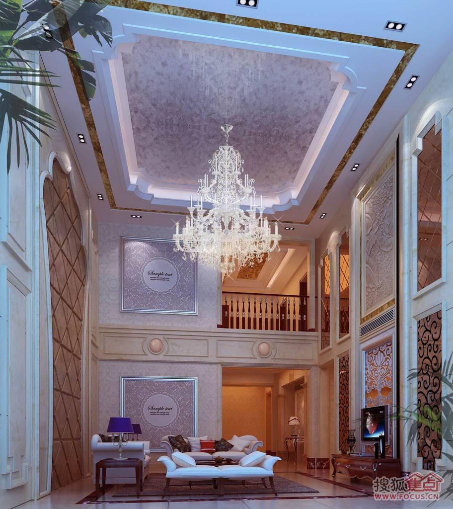 盈拓御江 独栋别墅 样板房装修效果图 一楼客厅高清图片