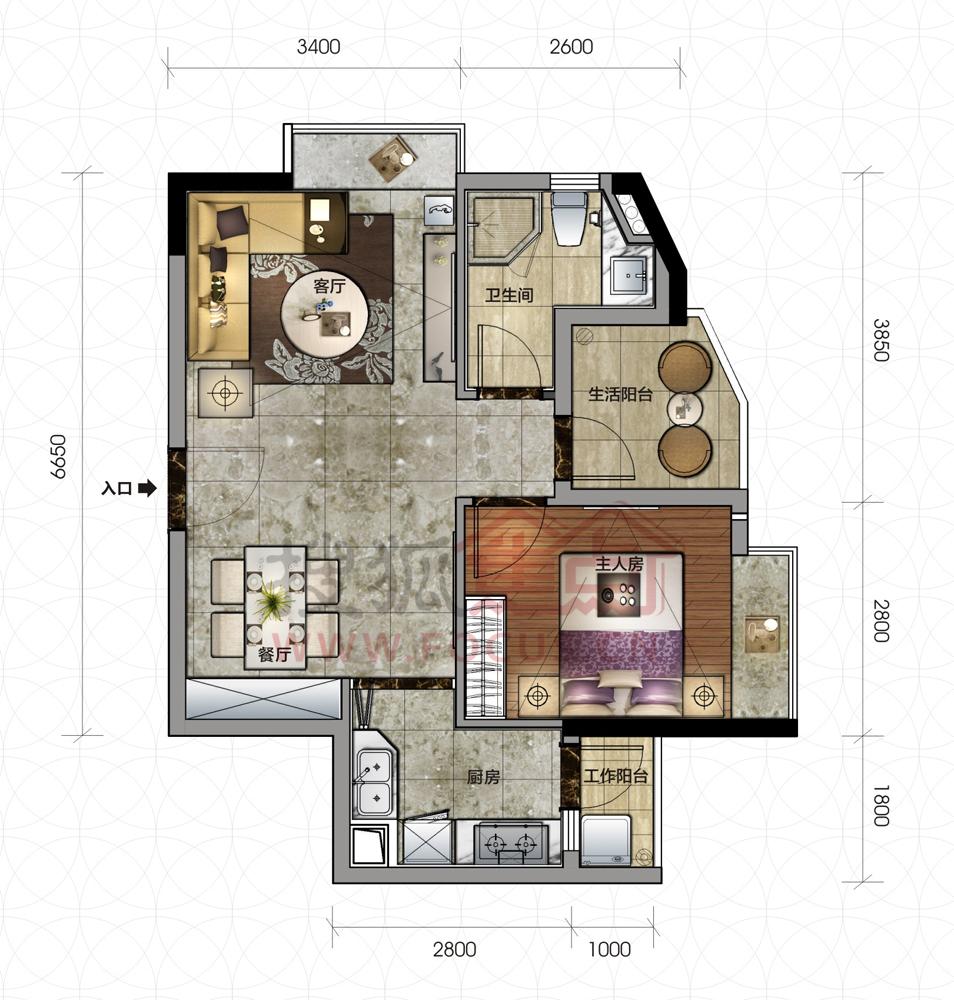 一室自住房平面设计图