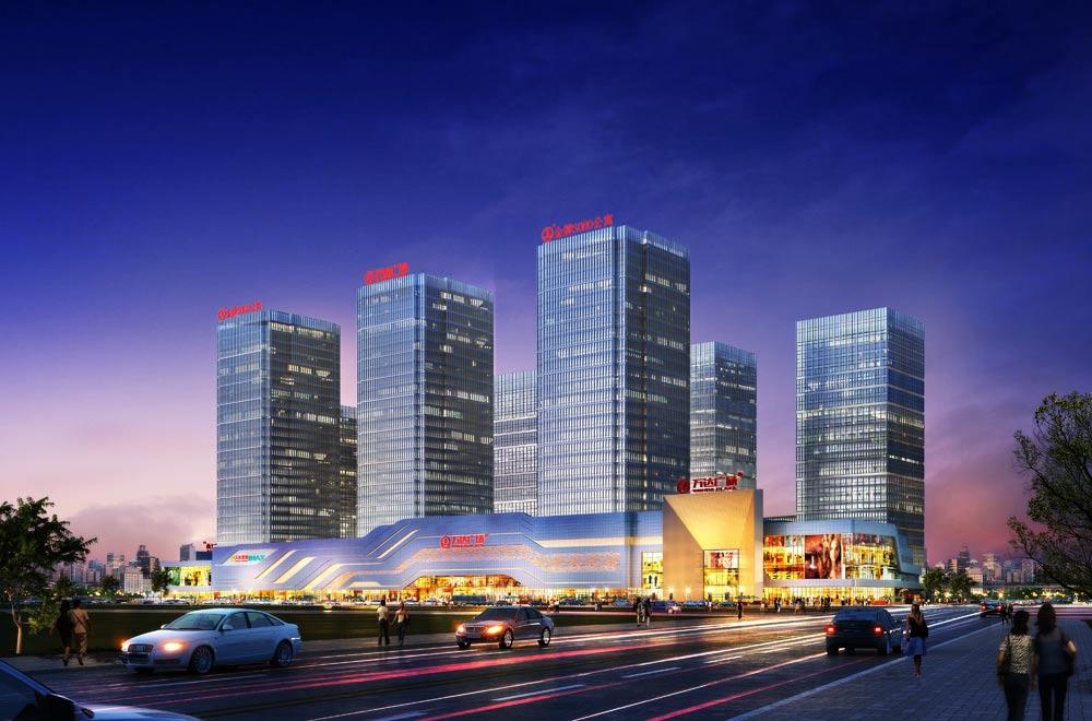 大连开发区万达广场商业透视夜景效果图