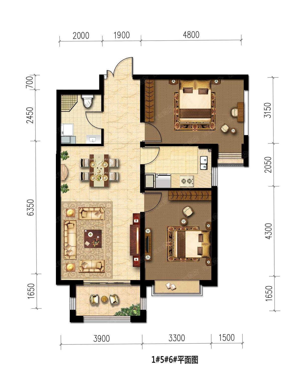 1,5,6號樓兩室兩廳一衛90平-2室2廳1衛-90m圖片