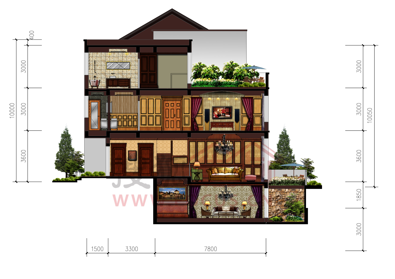 别墅别墅【卡纳意乡Ⅲ期】:联排领地立面252平米彩色户型院子上海户型