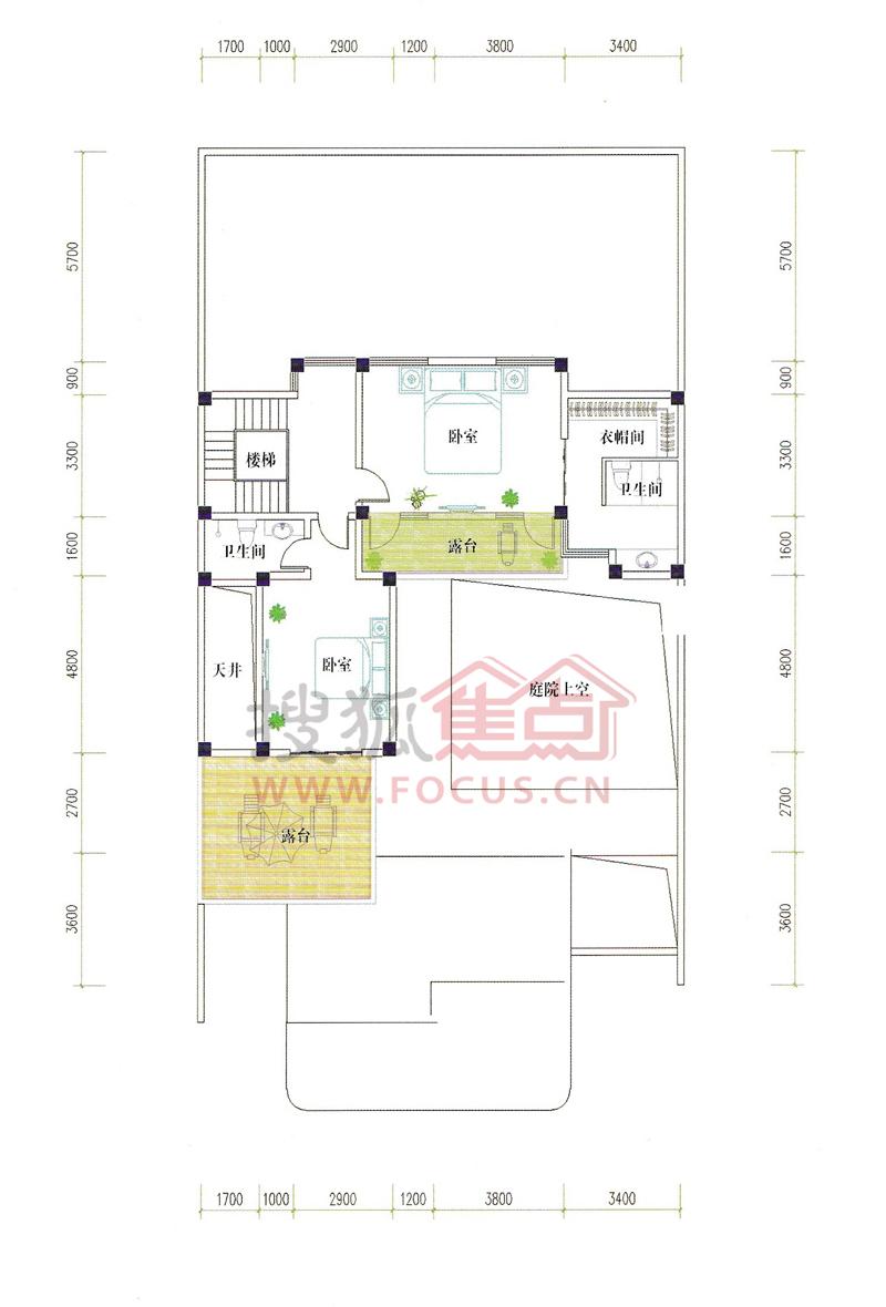 德州德州会馆三合院c 二楼平面图高清大图-搜狐焦点