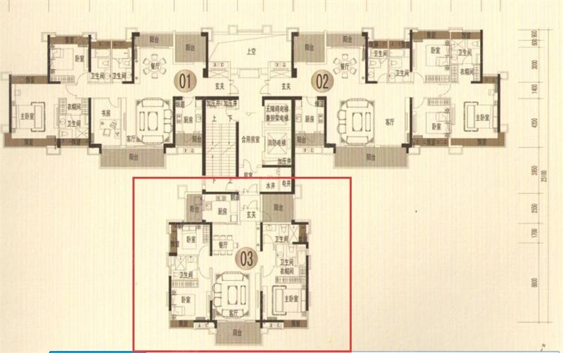 招商公园1872   2号楼03户型图-4室2厅3卫-141m