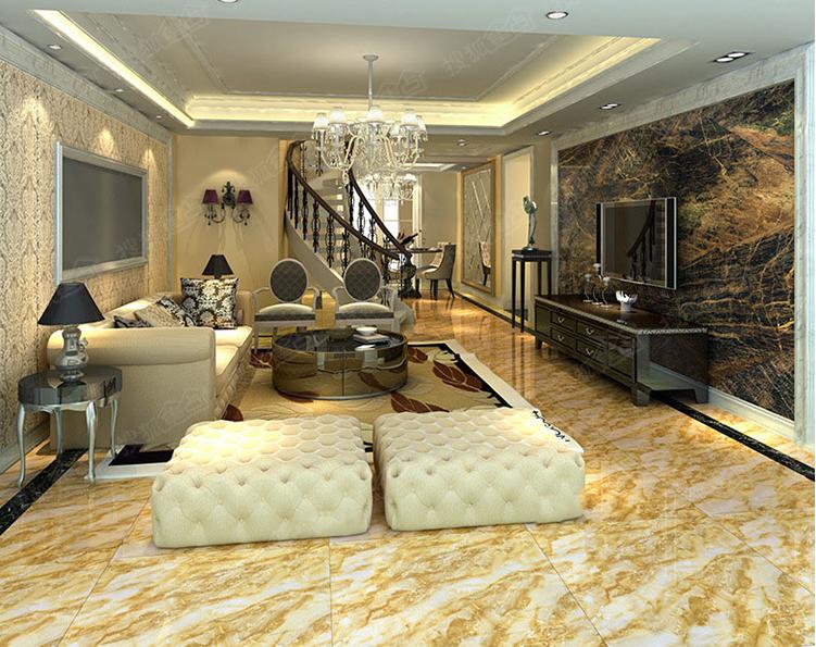 一个大背景的装修效果,地砖也易清理保养,客厅地板砖效果图值得你欣赏
