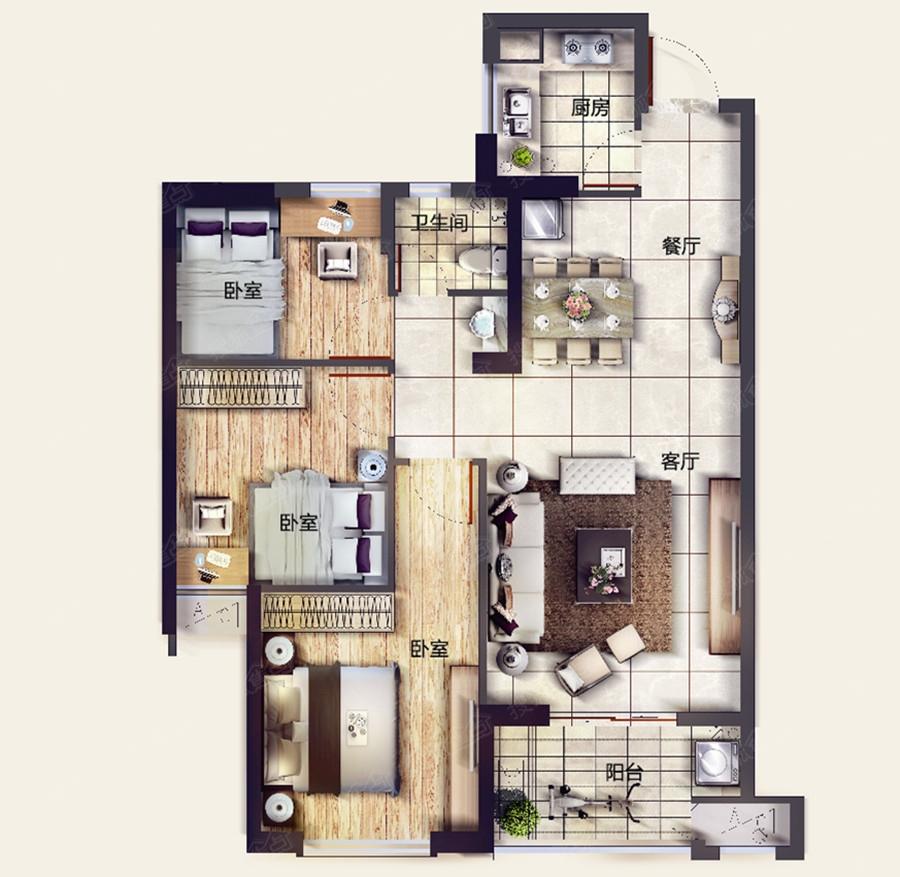 金辉淮安国际住区户型图-3室2厅1卫-90m
