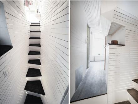 设计师托斯滕Ottesj把两转楼梯, 层高3.6米的小空间里,这错层设
