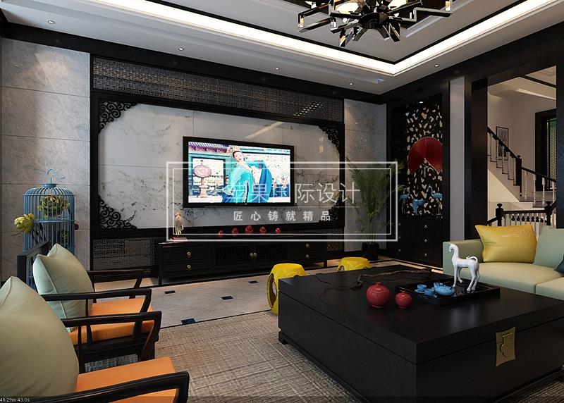 中渝第一城别墅-电视背景墙装修效果图-贵阳中渝 第一城别墅装修 设计