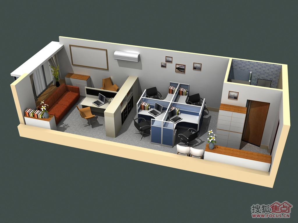 花果园soho公寓办公单间效果图; 办公单间; 贵阳 花果园图片
