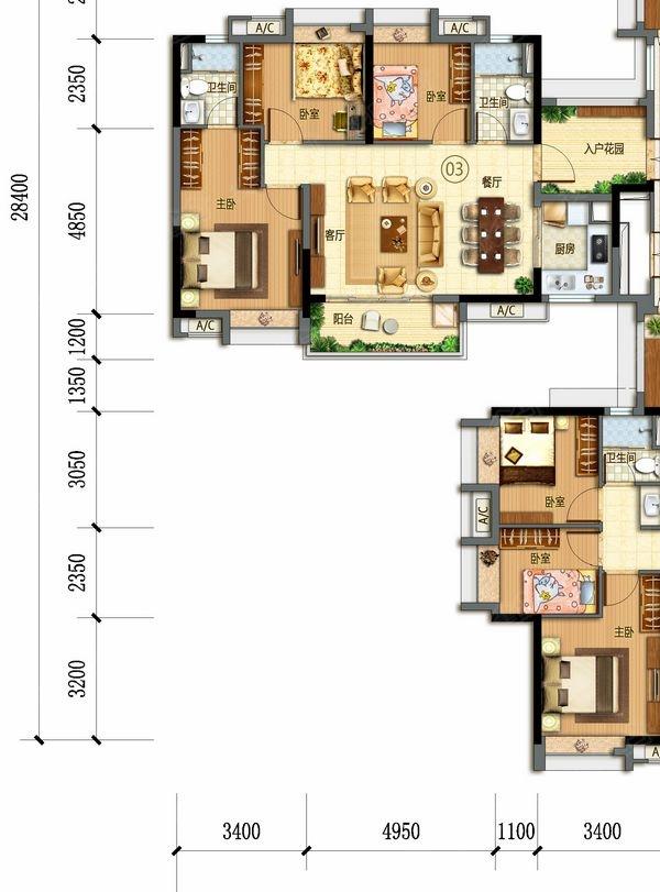 万科幸福誉-j15/j16栋01-三室两厅一卫-87.00㎡图片