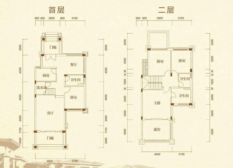 双拼4房2厅设计图