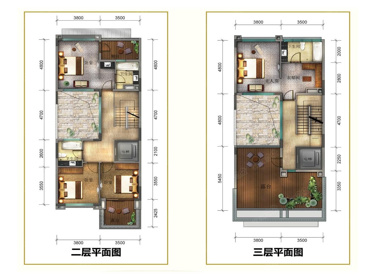 卧室 四室三套房布局,设计人性化;且三层为5米大开间豪华主套卧,尽享