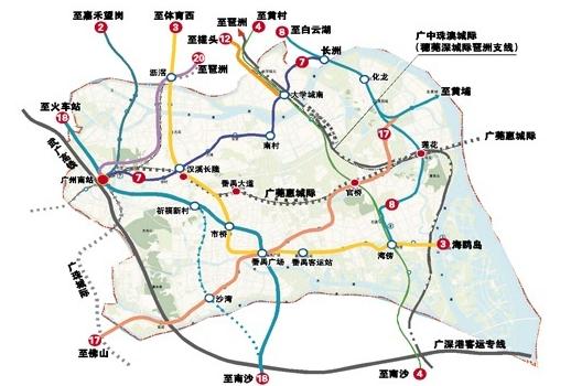 广州地铁最新规划番禺黄埔各增7条 路过你家没