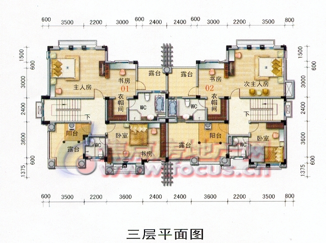 碧桂园假日半岛零居室双拼别墅a10三层平面图户型_图