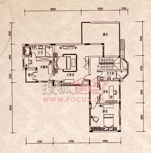 温莎堡r型类独栋l型别墅二层户型