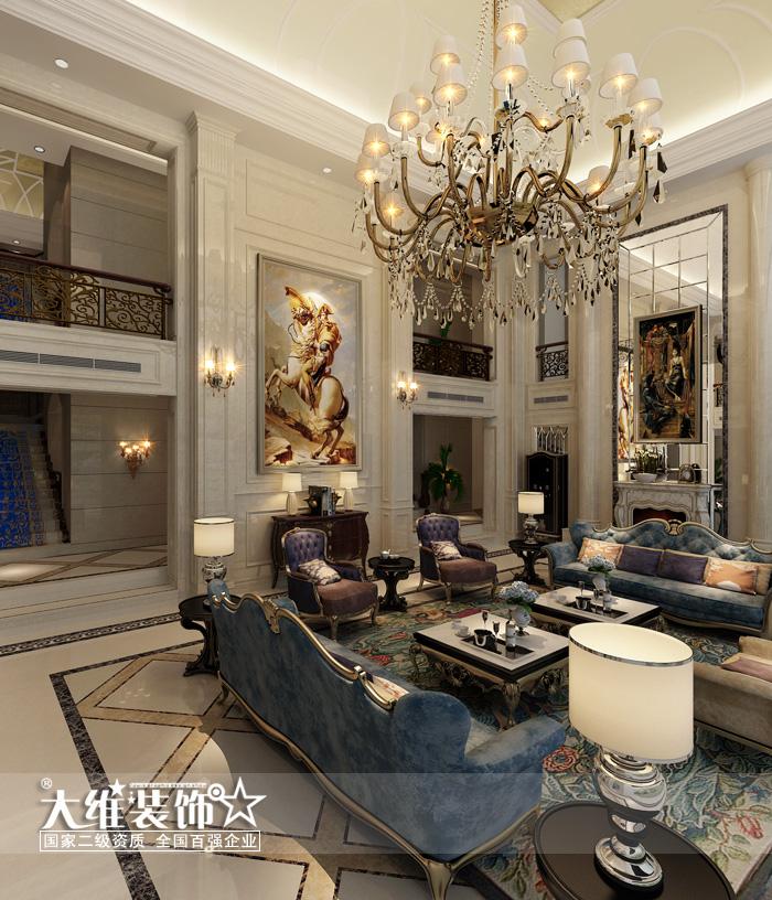 一楼大厅侧面 效果图-绿地内森庄园1500平米独栋楼王古典欧式风格装高清图片