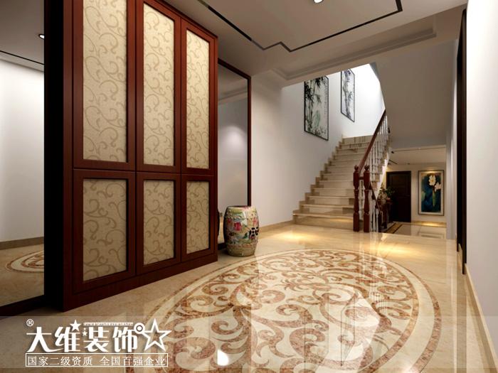 负一楼楼梯过道效果图-半岛1号A2 297平米别墅现代中式风格装修设计高清图片
