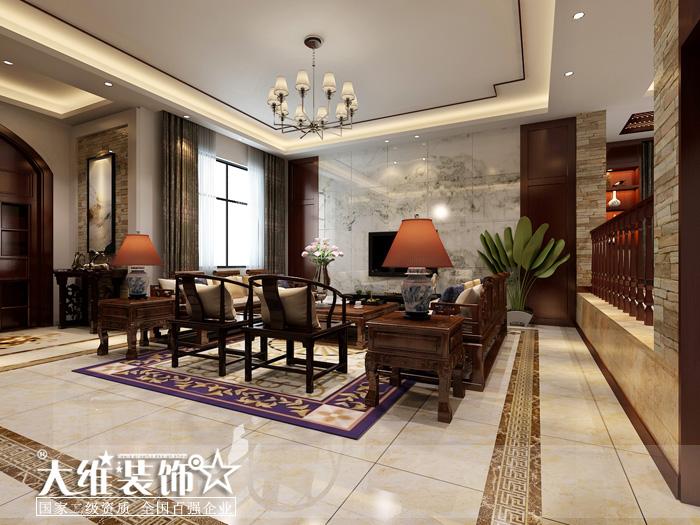 一楼客厅效果图-半岛1号A2 297平米别墅现代中式风格装修设计效果图高清图片