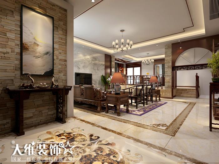一楼过道客厅效果图-半岛1号A2 297平米别墅现代中式风格装修设计效高清图片