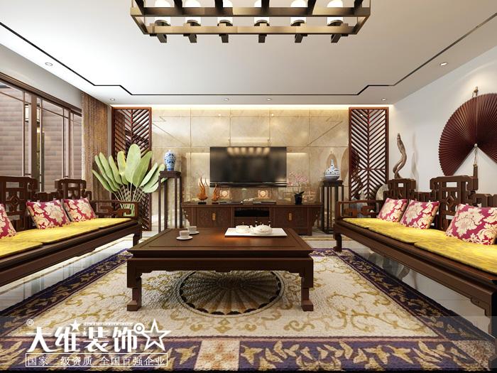 负一楼客厅正面效果图-半岛1号A2 297平米别墅现代中式风格装修设计高清图片