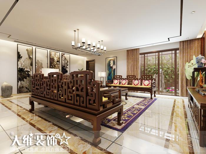 负一楼客厅侧面效果图-半岛1号A2 297平米别墅现代中式风格装修设计高清图片