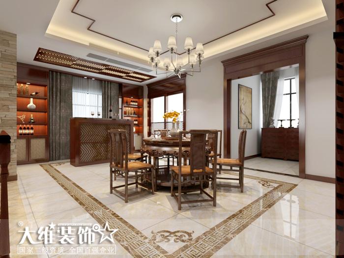 一楼餐厅效果图-半岛1号A2 297平米别墅现代中式风格装修设计效果图高清图片