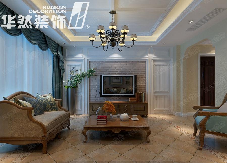 玫瑰园170平美式风格案例——客厅效果图-绿城翡翠湖玫瑰图170平高清图片