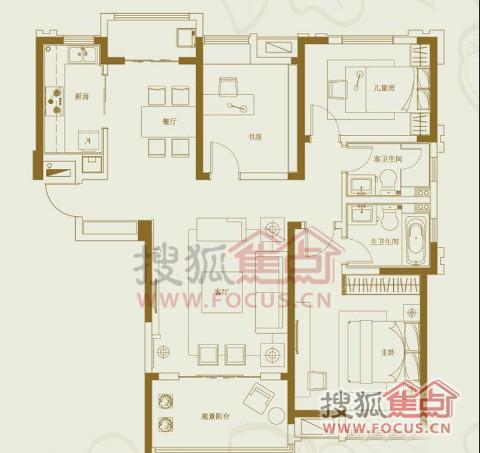 3室2厅1卫户型图   预计9月推出二期25#楼,98、129㎡户型,高清图片
