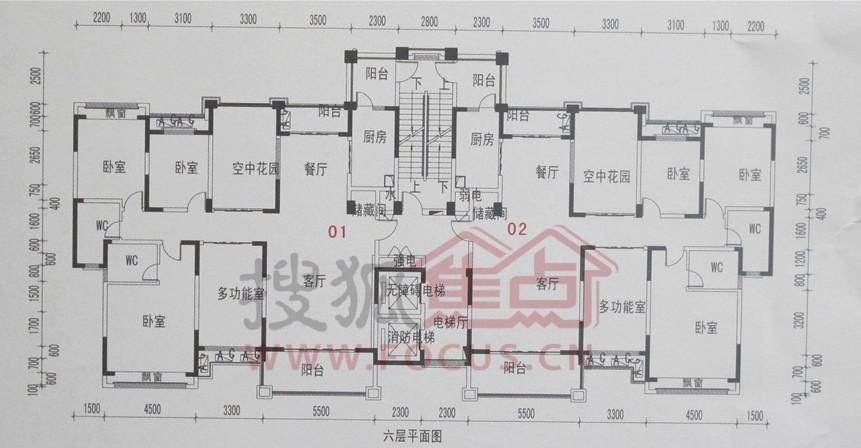 c6六层平面图户型高清图片