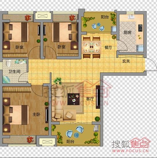 3室2厅1卫户型图高清图片