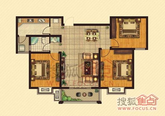 户型117㎡3室2厅1卫户型图   105平米户型,82平米已售完,暂高清图片