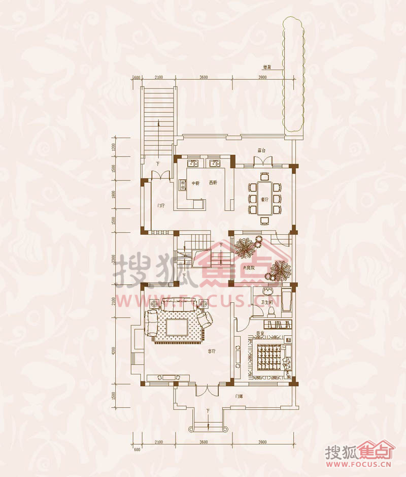 地下层平面图六室三厅四卫户型高清图片