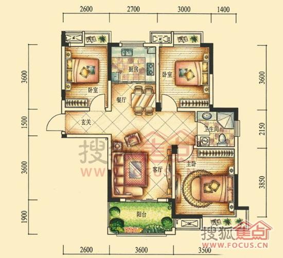 d1户型92㎡3室2厅1卫户型图高清图片