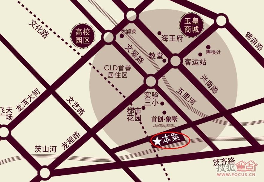 首创花溪交通图-葫芦岛搜狐焦点网