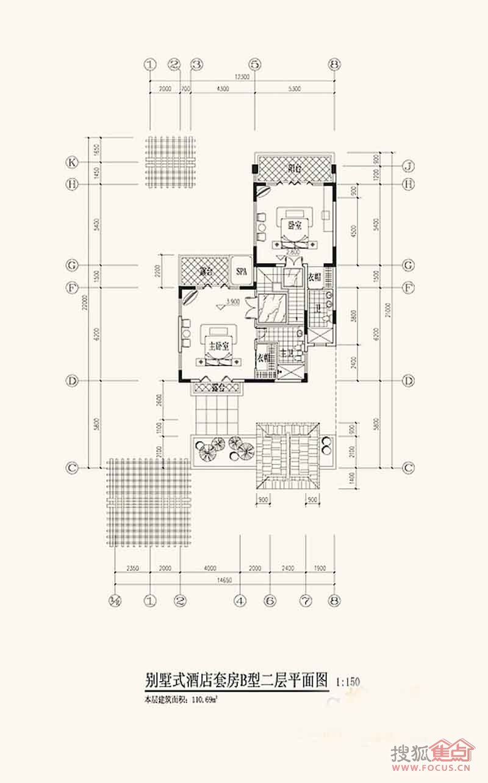 别墅式酒店套房二层平面图b户型