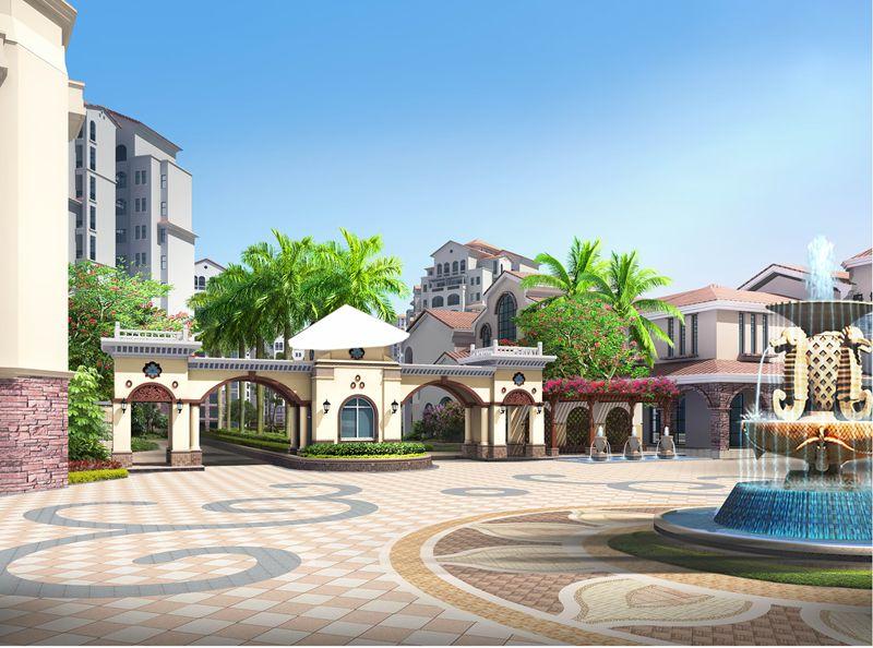 海南大溪地住宅小区塔希提广场(小区主入口)效果图