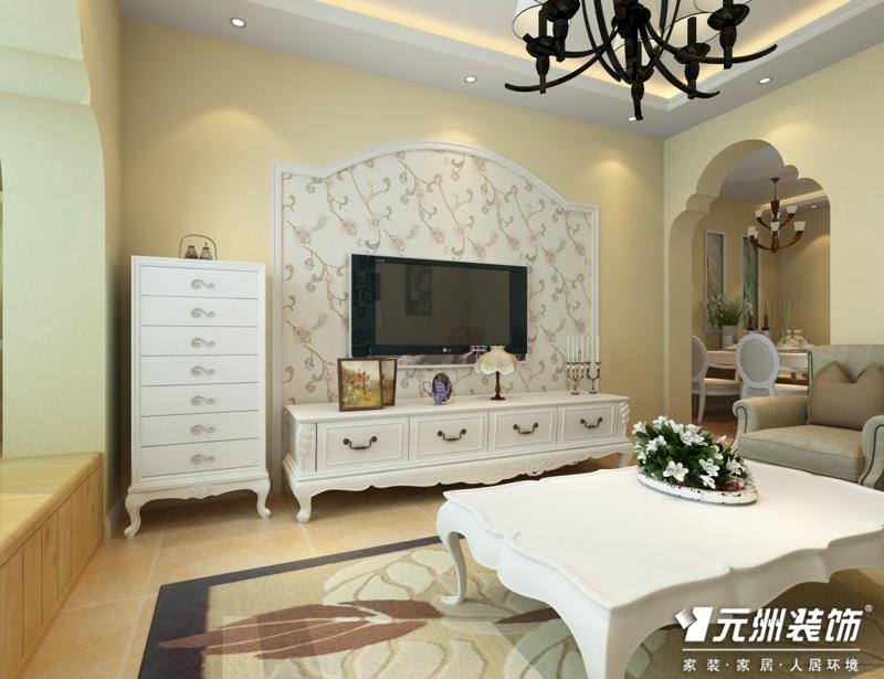 客厅:为了使空间感觉更大,客厅的垭口做了造型垭口,窗帘移到了图片