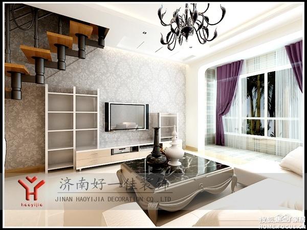 效果图   影视墙采用隔断造型,与影视柜形成统一的整体.开放式的阳高清图片