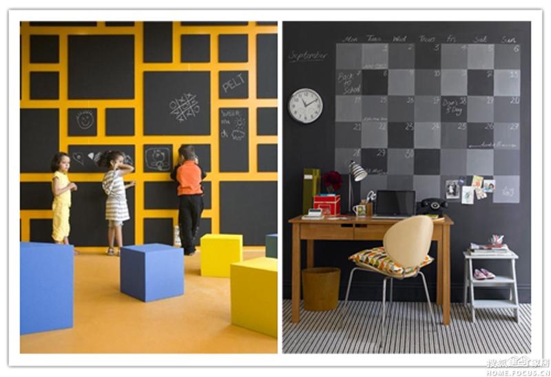 图:芬琳黑板,磁性漆——暑假给孩子边玩边学习的房间