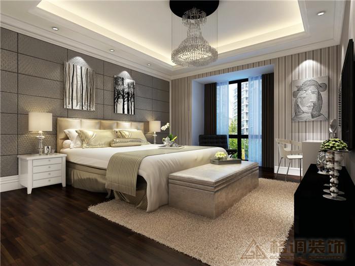 装修设计案例卧室效果图   重庆洋房别是装饰公司凤凰湾146高清图片
