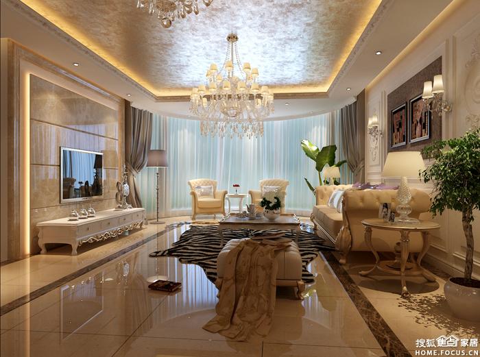 客厅及餐厅选材:米黄色的地砖配浅咖色的大理石背景墙,深咖色沙发图片