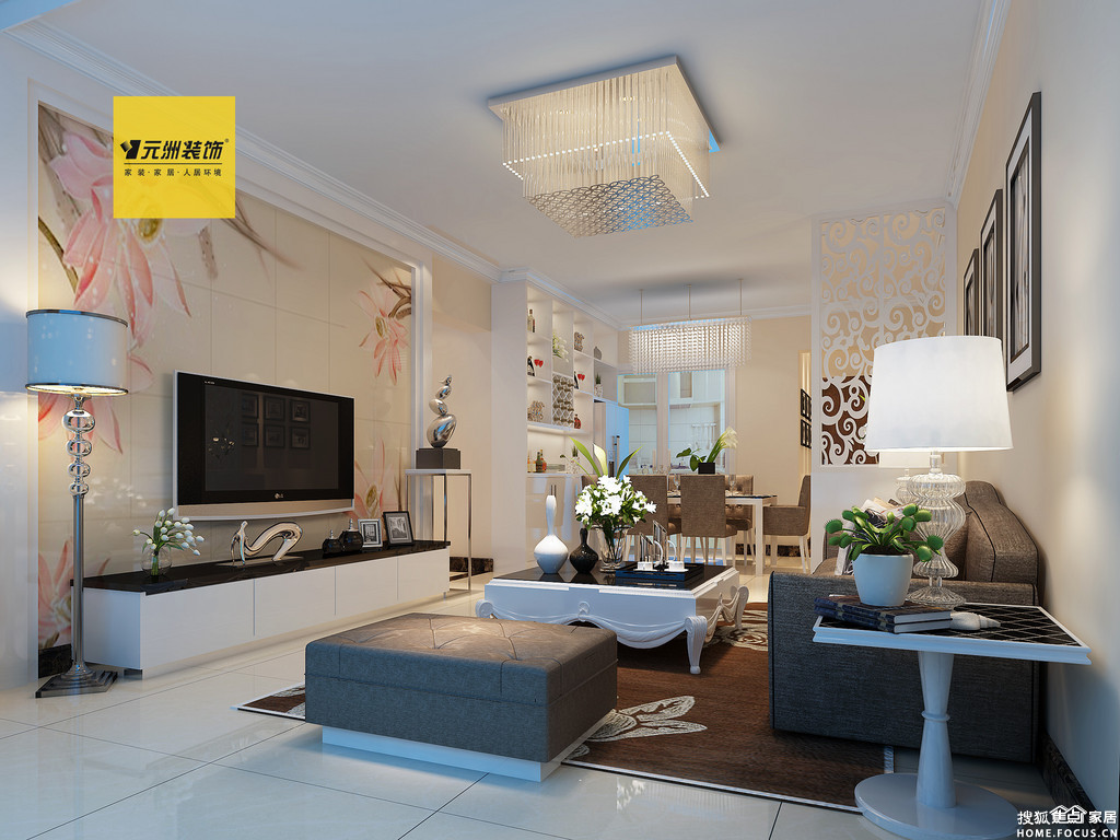 南宁翰林君庭93平米 现代简约装修风格 装修效果图 装修案高清图片