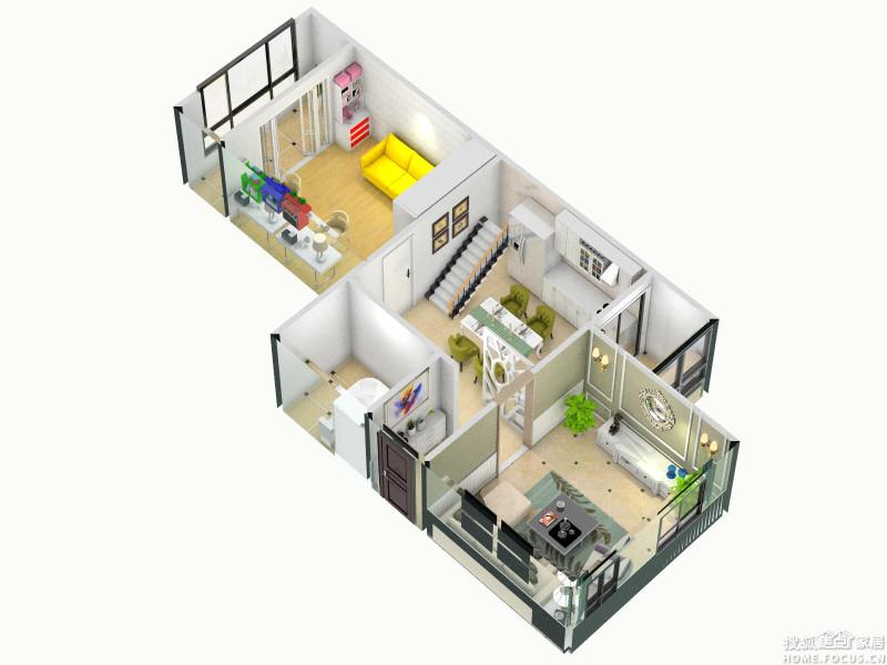 【改造后的整体效果图-1层】-这样行不行 阳台改厨房 厨房 次 哈尔滨装高清图片