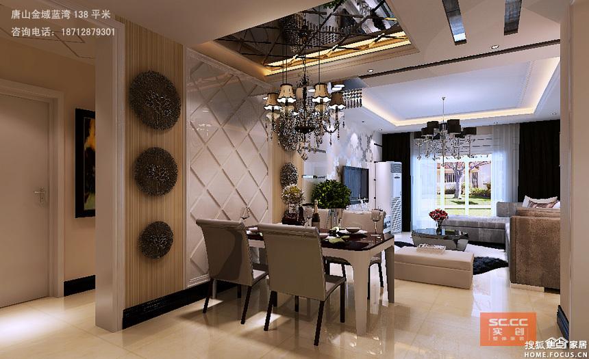 客厅电视背景用石膏板加背漆玻璃条做边框,中间壁纸打底有简约时尚