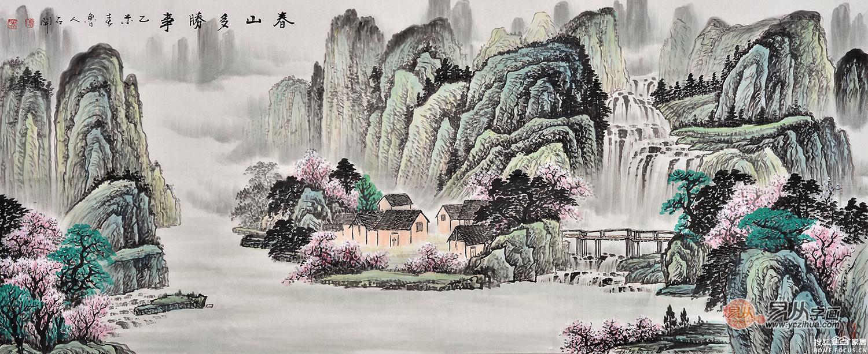 聚宝盆山水画 鲁人石开写意画作品《春山多胜事》作品来源:易从山水画