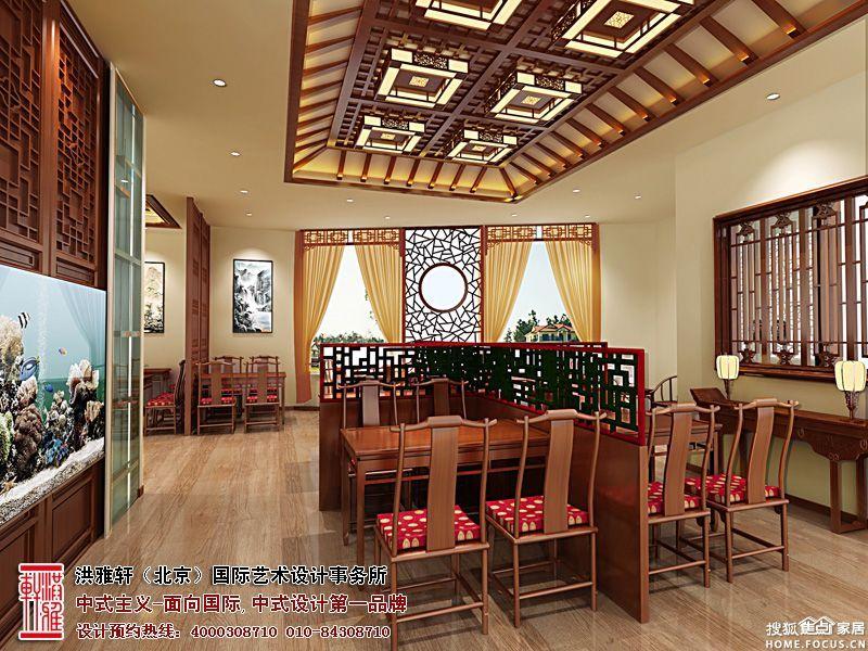 餐厅吊顶设计,花格清新雅致,淡然间有一种深沉的静思感,正是体现图片